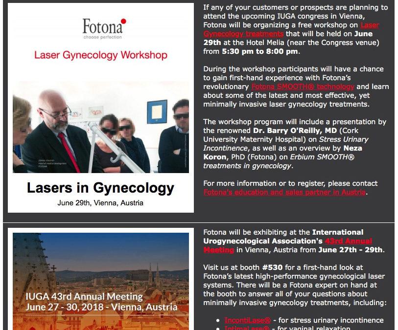 Fotona Gynecology Workshop at IUGA