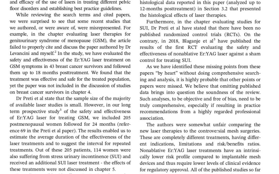 "Comments on Preti et al: ""The clinical role of laser for vulvar and vaginal treatments in gynecology and female urology: An ICS/ISSVD best practice consensus document"""