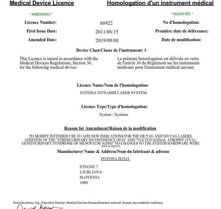 Medical Device License from Canada